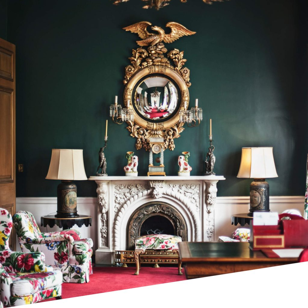 Colourful living room with ornamental fireplace