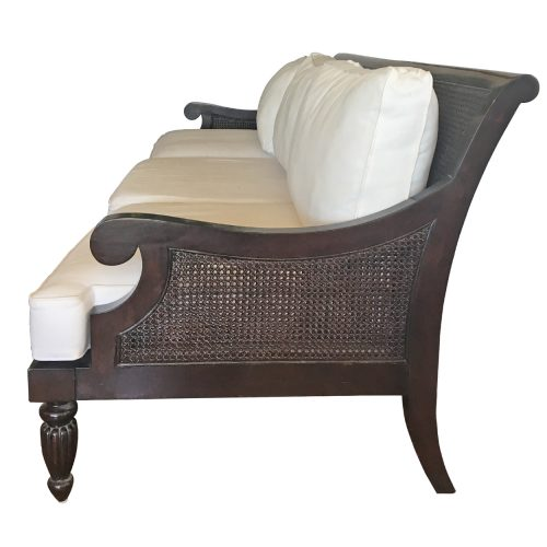 Two Design Lovers Stuart Membery Madras mahogany cane sofa side view