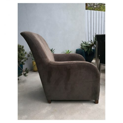 Two Design Lovers brown armchair with matching footstool side
