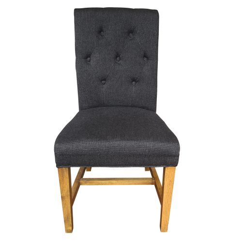 Two Design Lovers navy fabric dining chair front