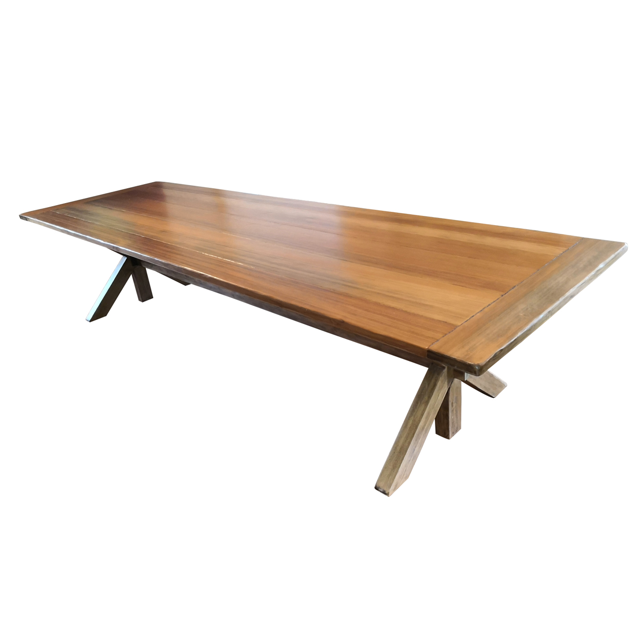 Two Design Lovers Kauri pine dining table seats 12 side view