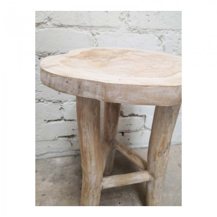 Two Design Lovers white oiled live edge side table side detail