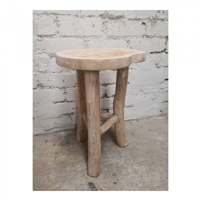 Two Design Lovers white oiled live edge side table back