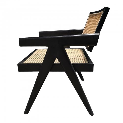 Two Design Lovers Black Timber and natural cane chair side