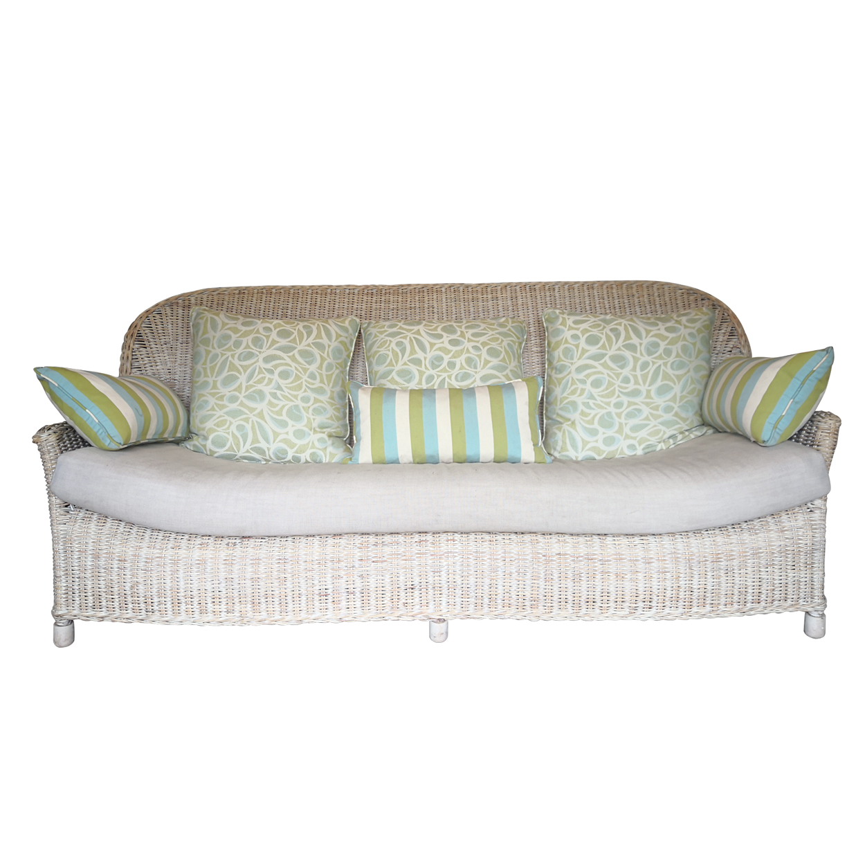 Two Design Lovers three piece cane sofa set with fabric cushions, front with cushions