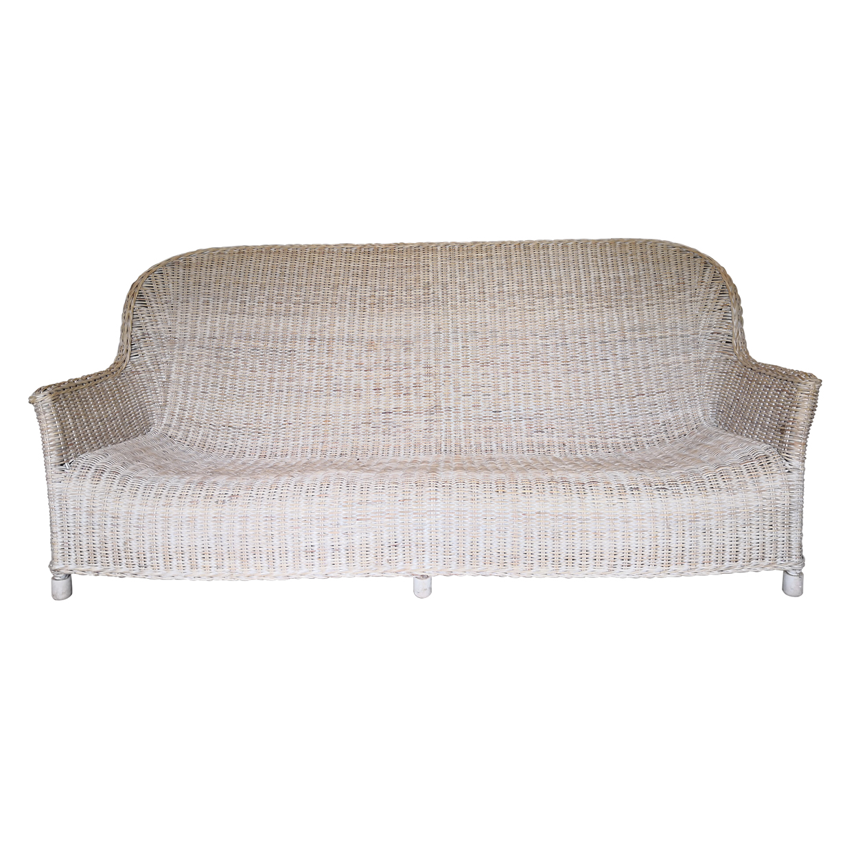 Two Design Lovers three piece cane sofa set with fabric cushions, front no cushions