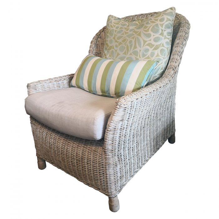 Two Design Lovers three piece cane sofa set with fabric cushions, armchair side angle
