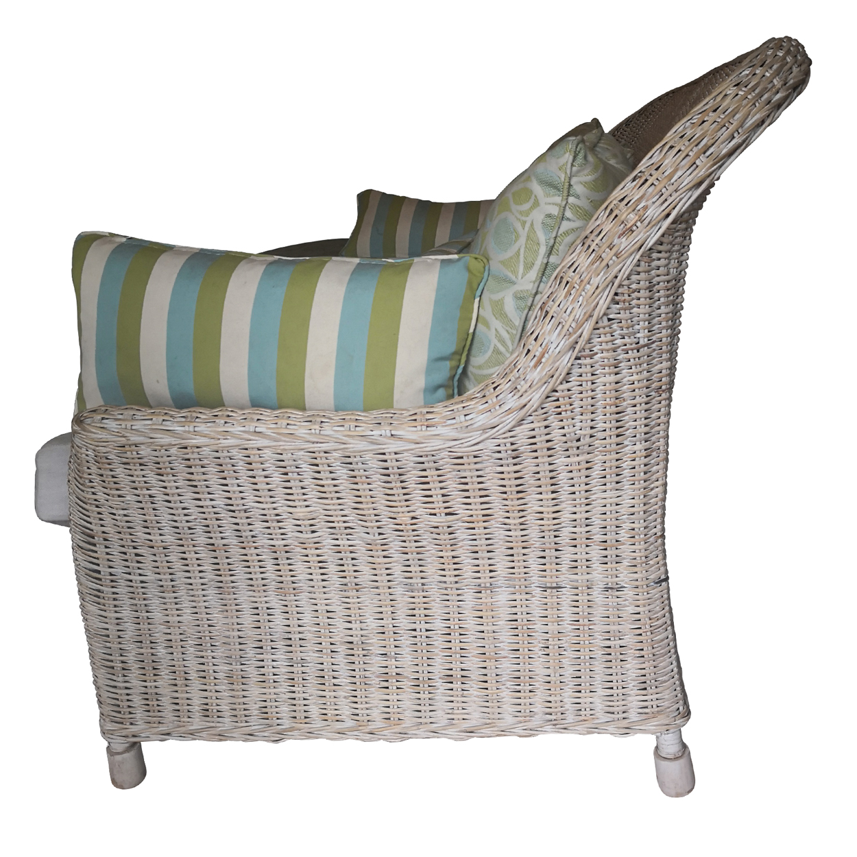 Two Design Lovers three piece cane sofa set with fabric cushions, armchair side