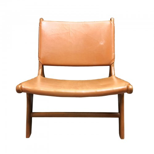 Two Design Lovers tan synthetic leather and wood low chair front