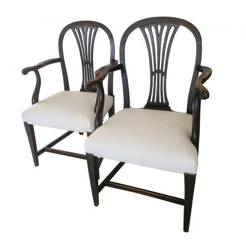 Two Design Lovers Antique Georgian pair of carver dining chairs