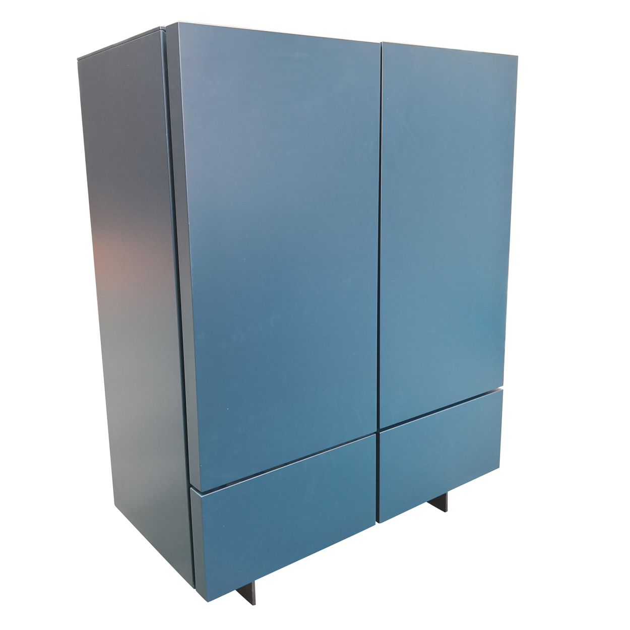 Two Design Lovers teal storage cabinet side angle view