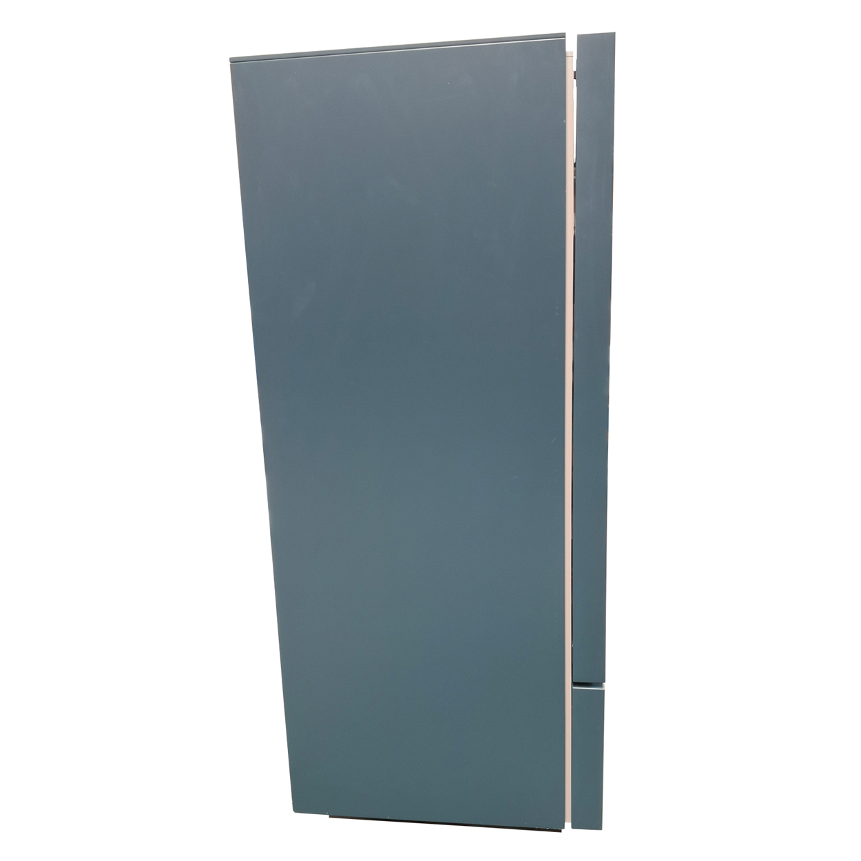 Two Design Lovers teal storage cabinet side view