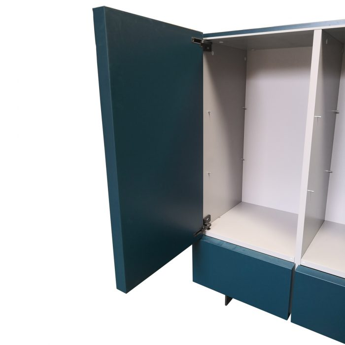 Two Design Lovers teal storage cabinet inside view