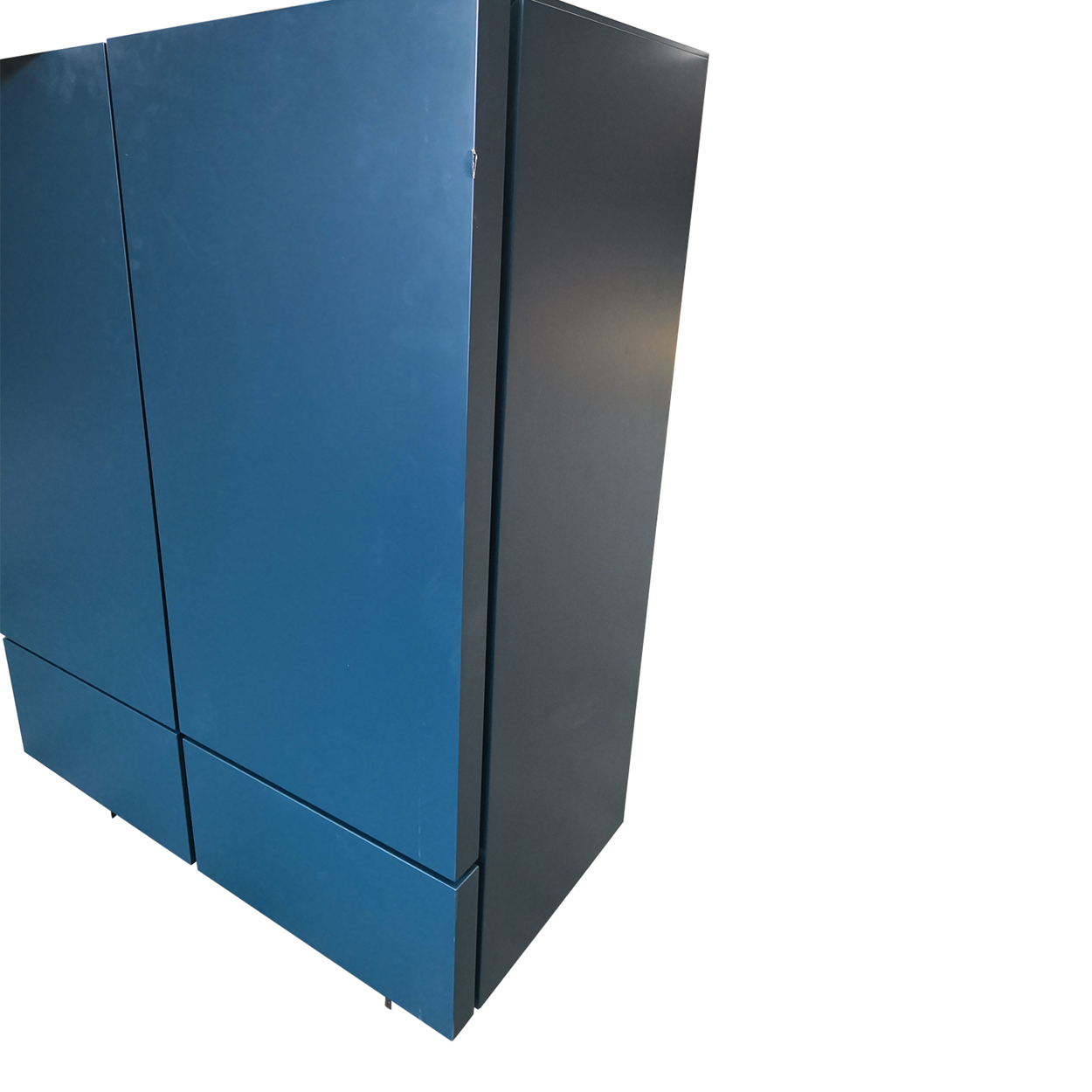 Two Design Lovers teal storage cabinet edge damage view