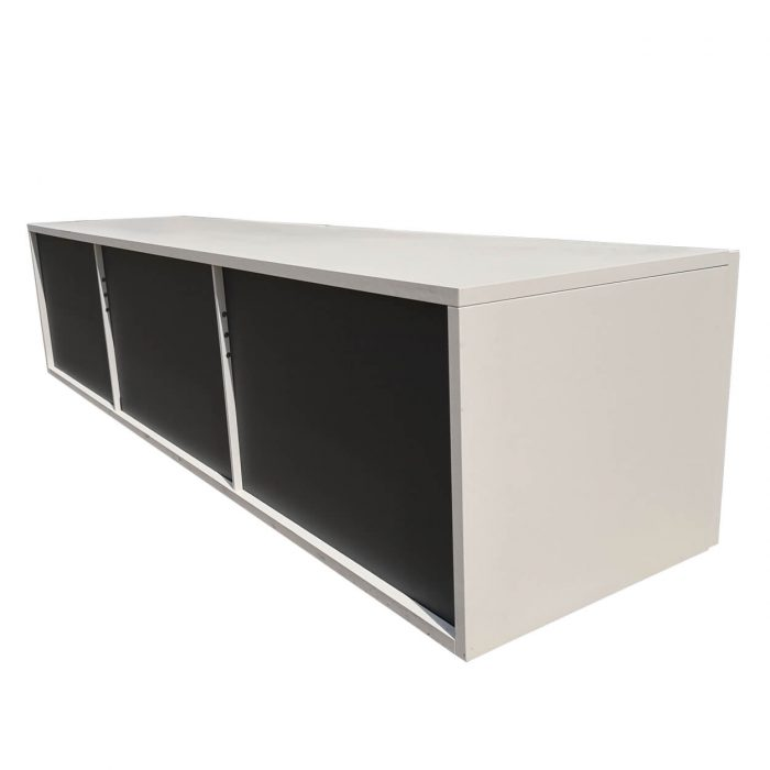 Two Design Lovers white drop front storage back