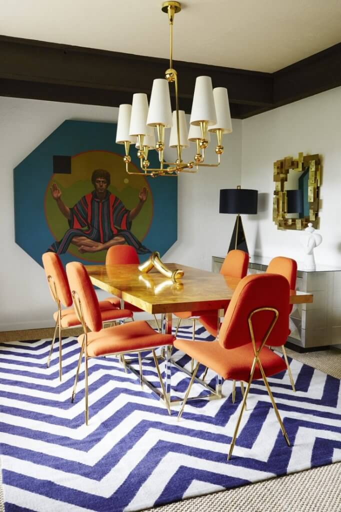 Two Design Lovers Dining Room Rugs blue and white rug Jonathan Adler