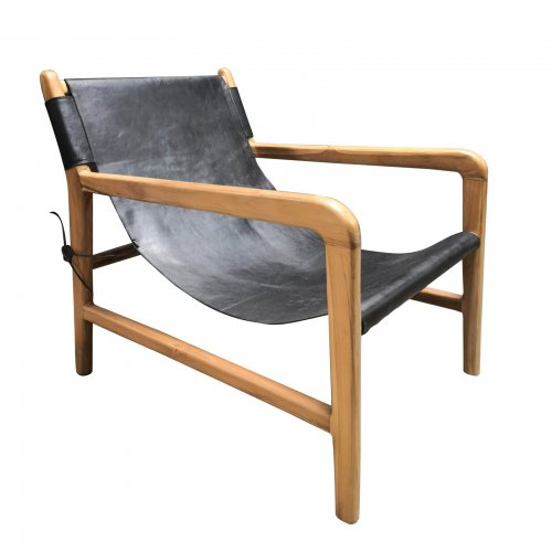 Two Design Lovers teak and black leather low armchair front angle