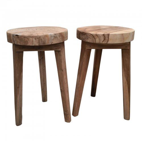 Two Design Lovers natural wood pair of side tables pair