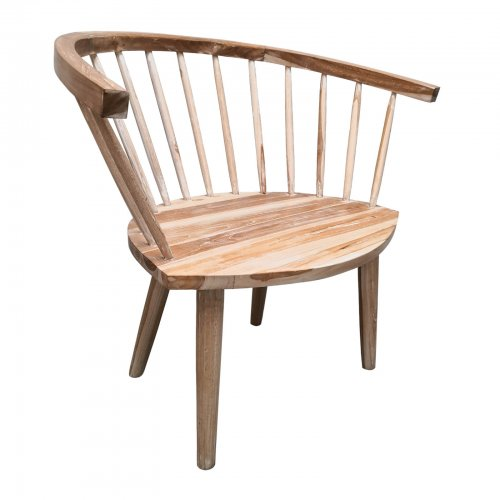 Two Design Lovers natural wood occasional chair with spindle back front angle view