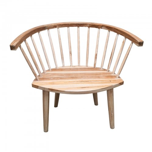 Two Design Lovers natural wood occasional chair with spindle back front view