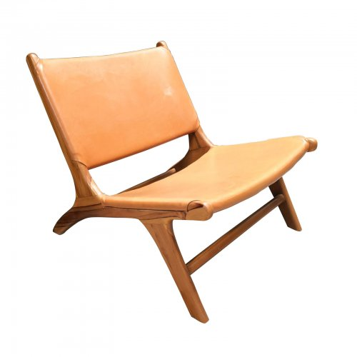 Two Design Lovers tan synthetic leather and wood low chair front angle