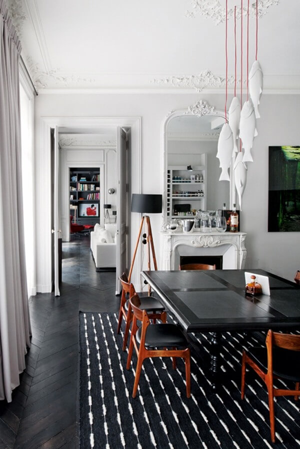 Two Design Lovers Dining Room Rugs black and white striped rug