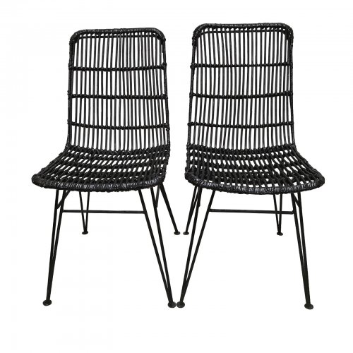 Two Design Lovers Black Cane Dining Chairs Set of 2
