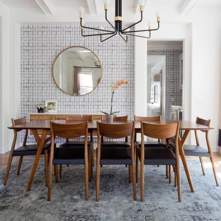 Two Design Lovers dining room West Elm mid century modern with grey rug