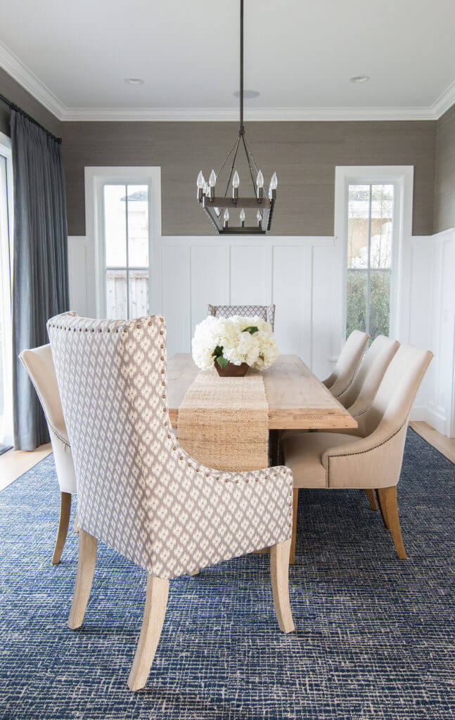 Two Design Lovers Dining Room Rugs Blackband design beige upholstered chairs