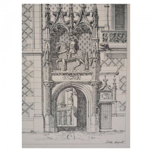 Two Design Lovers architectural print 'Chateau de Blois' from the Croquis d'Architecture series detail of gate