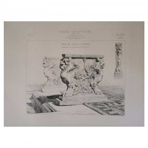 Two Design Lovers architectural print 'Pied de Table a Pompei' from the Croquis d'Architecture series whole page