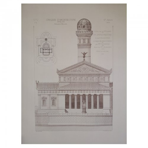Two Design Lovers architectural print 'Amphitreatre d'Astronomie' from the Croquis d'Architecture series