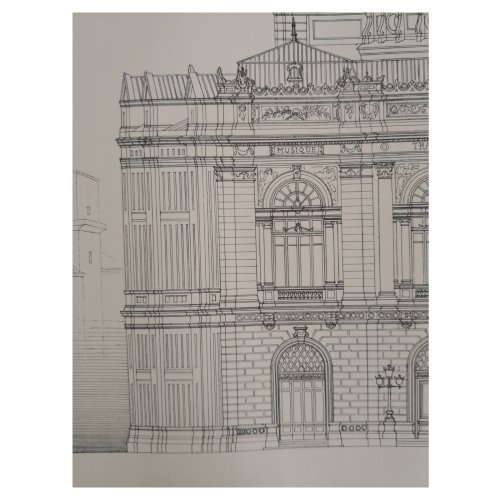 Two Design Lovers architectural print 'Theatre de Montpellier' from the Croquis d'Architecture series detail