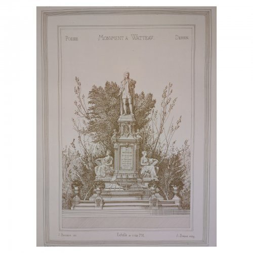 Two Design Lovers architectural print 'Monument a Watteau' from the Croquis d'Architecture series