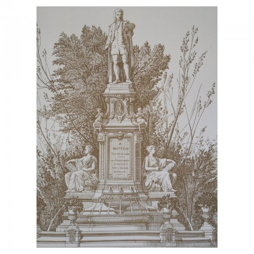Two Design Lovers architectural print 'Monument a Watteau' from the Croquis d'Architecture series detail