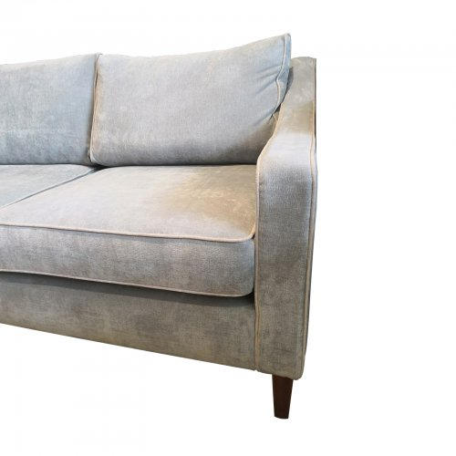Two Design Lovers Coco Republic three seater grey sofa corner view