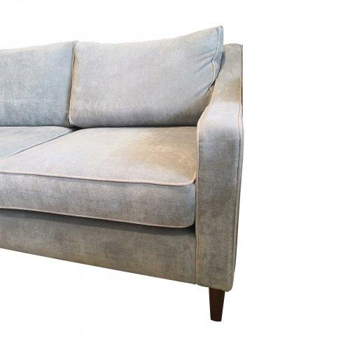 Two Design Lovers Coco Republic three seater grey sofa corner view
