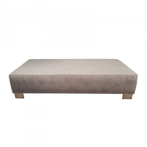 Two Design Lovers Coco Republic grey velvet and damask ottoman front view