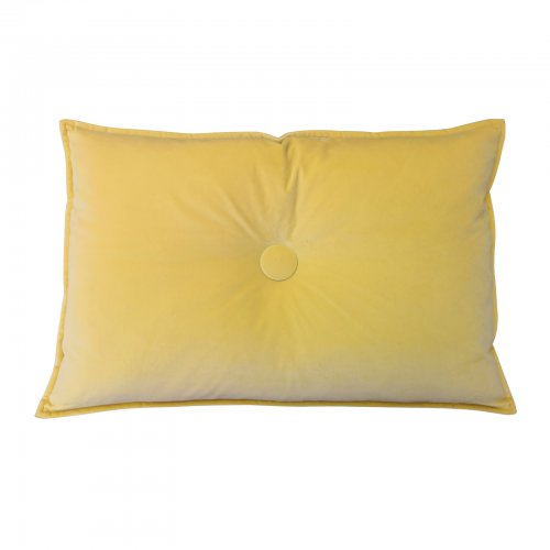 Two Design Lovers yellow velvet button detail cushion