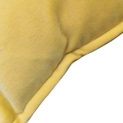 Two Design Lovers yellow velvet button detail cushion pair detail