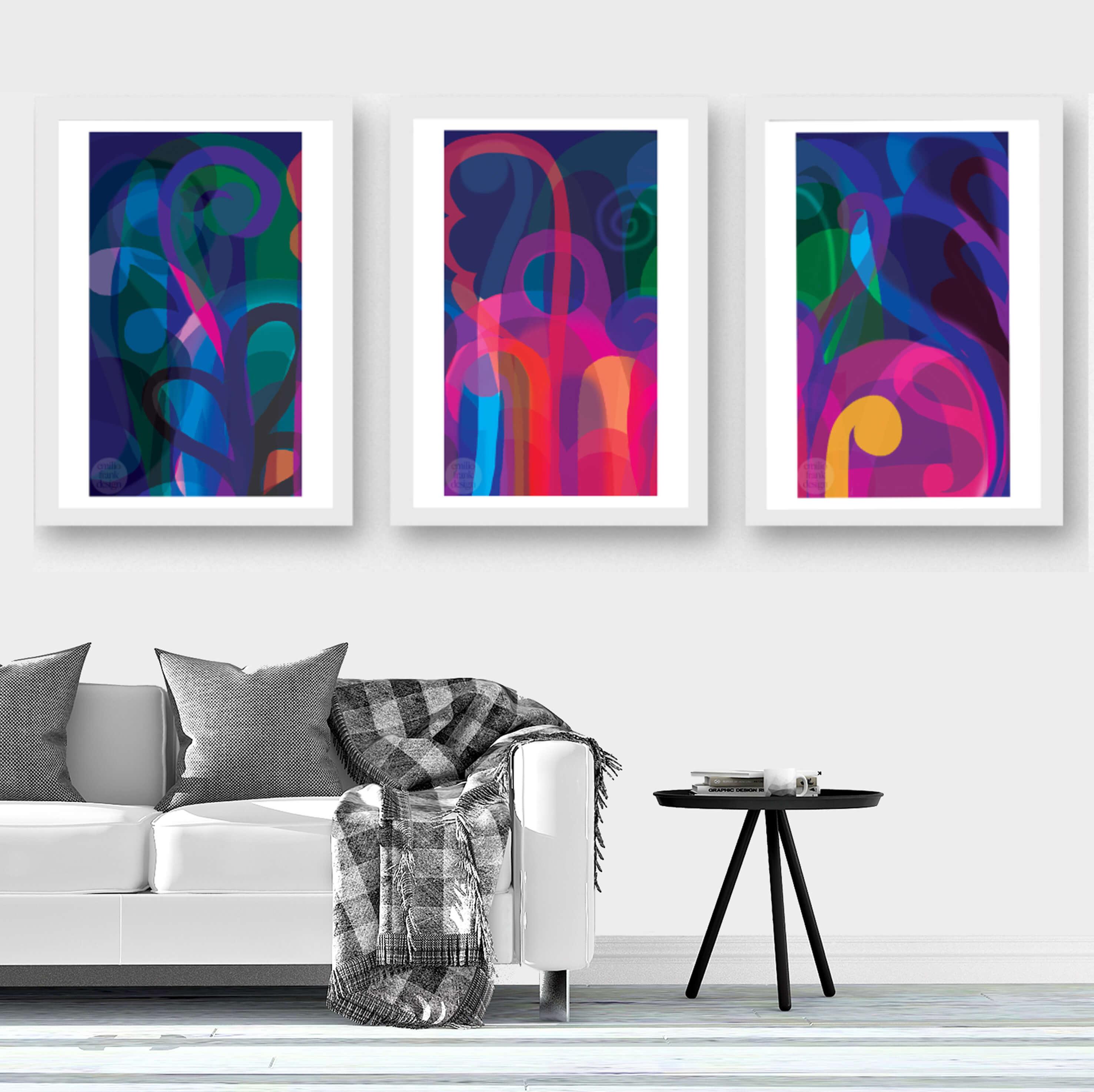 Two Design Lovers Lunar Garden triptych Emilio Frank print