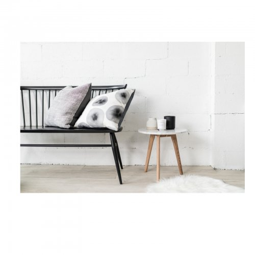 Two Design Lovers Jak & Co Black Pebble cushion on sofa