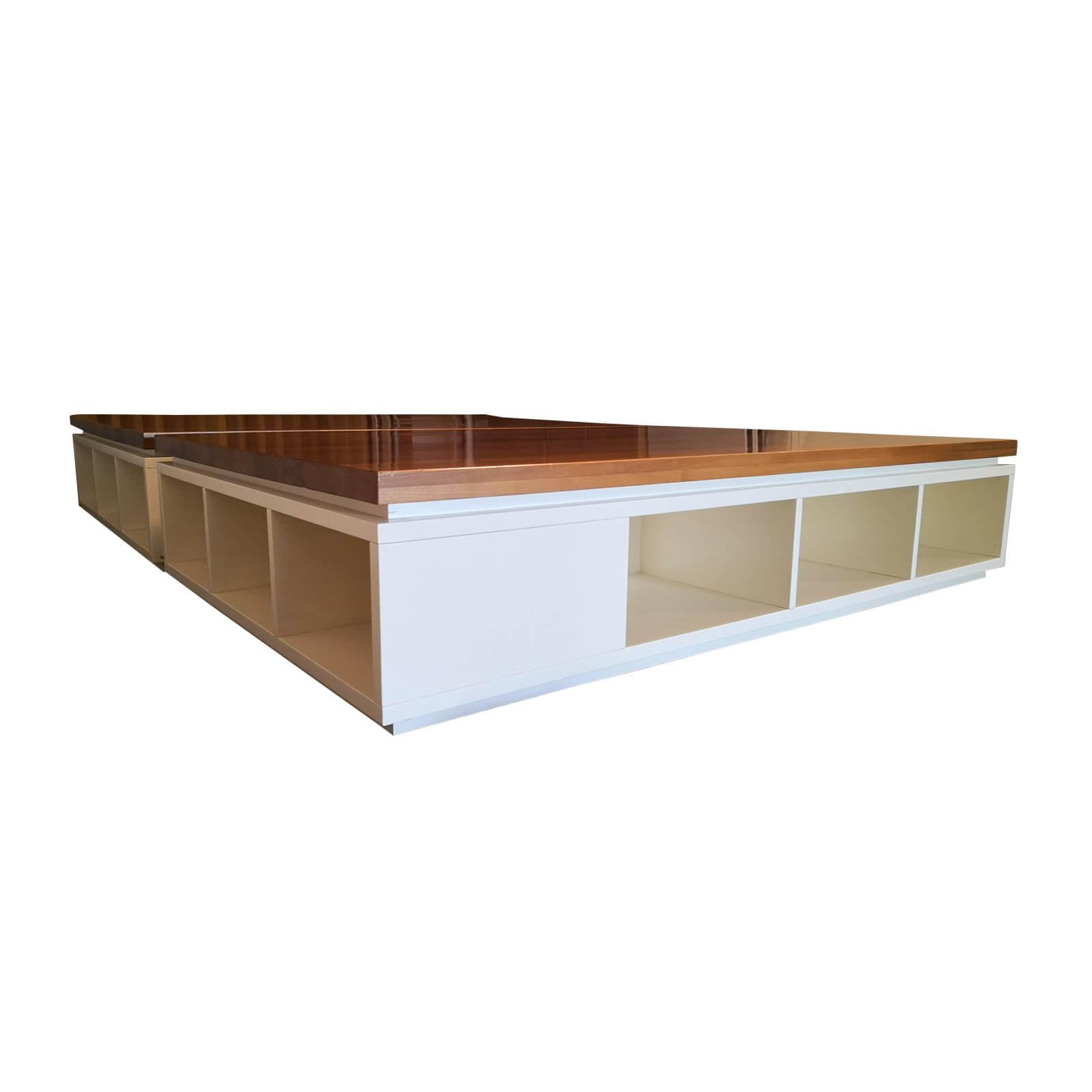Two Design Lovers kids platform bed base and storage end corner set two