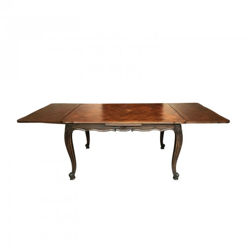 Two Design Lovers Antique parquetry draw-leaf dining table