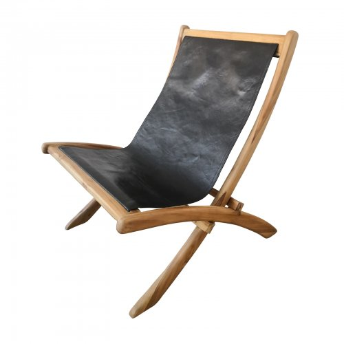 Two Design Lovers Teak and Black Leather chair angle