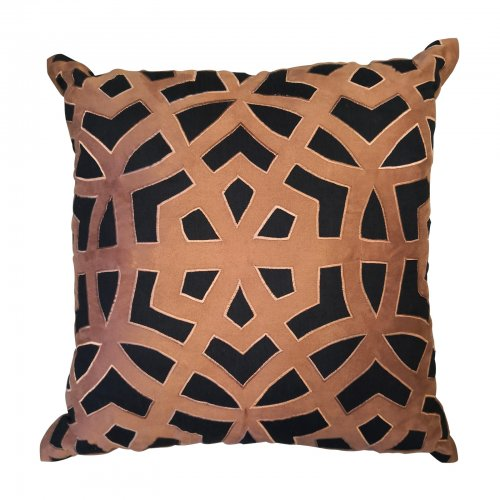 Two Design Lovers Bandhini black and tan applique cushion
