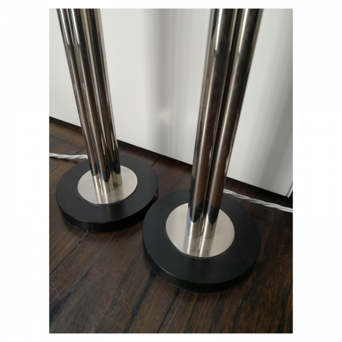 Two Design Lovers chrome lamp base pair detail