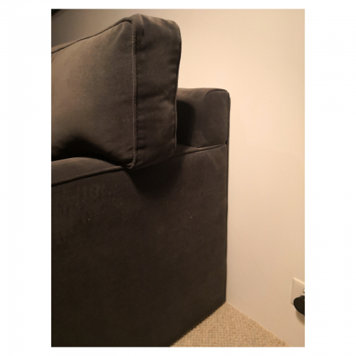 Two Design Lovers grey velvet corner sofa side