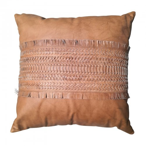 Two Design Lovers Bandhini Designs cushion leather tan