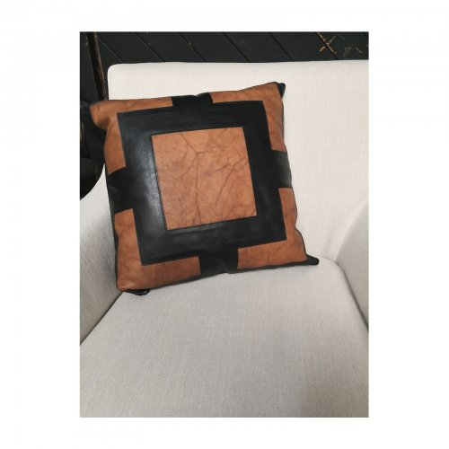 Two Design Lovers Bandhini Designs cushion leather applique on chair